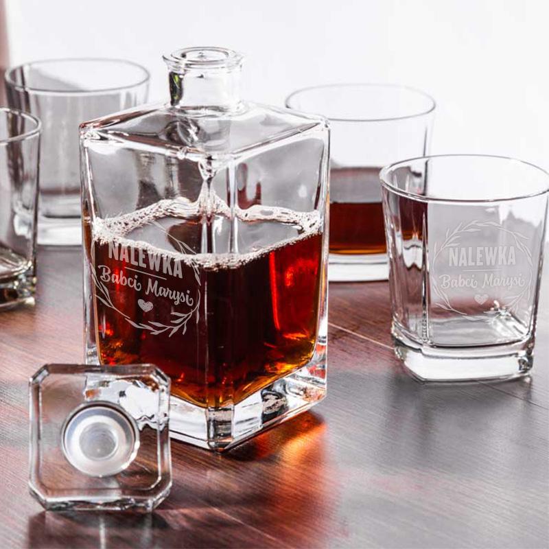 Zdjęcie w galerii - ZESTAW ekskluzywny Dla Babci Kanciasta Karafka i 6 szklanek