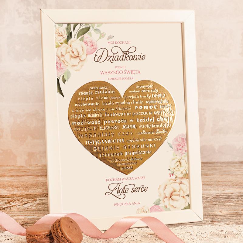 Wyjątkowy prezent na Dzień Babci i Dziadka w postaci personalizowanego plakatu z uroczym, złotym sercem.