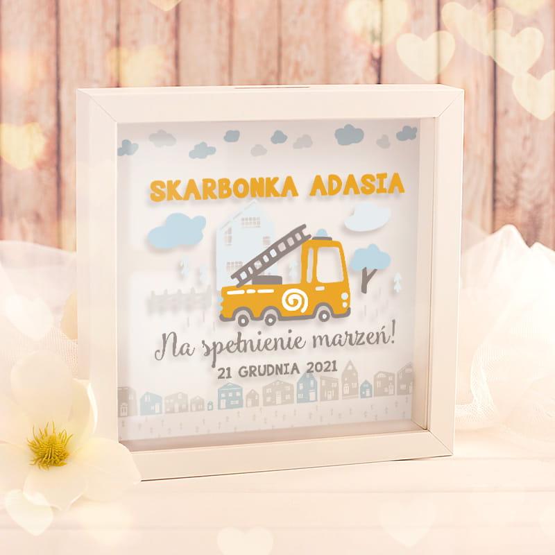 Zdjęcie w galerii - SKARBONKA 3D Prezent Dla Dziecka Wóz Strażacki