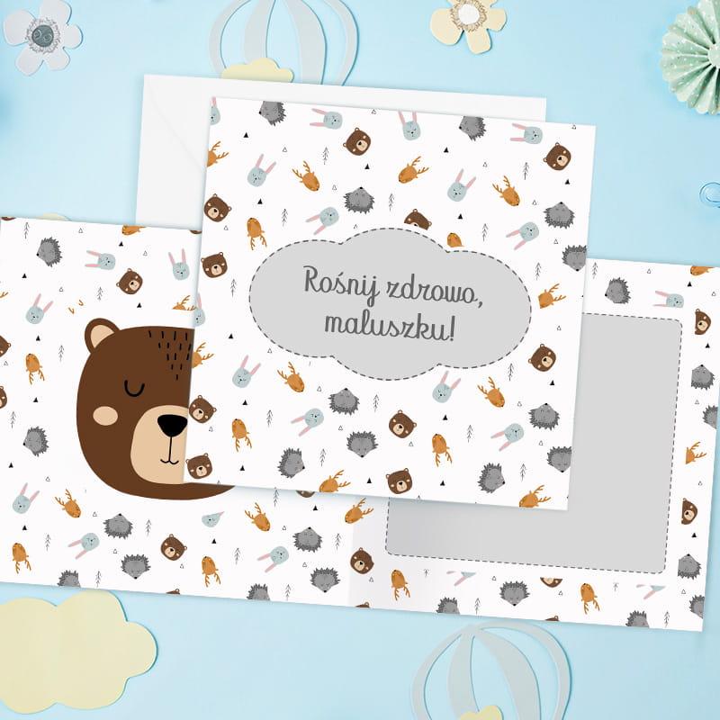 Kartka na życzenia dla dziecka z motywem skandynawskich zwierzątek do samodzielnego wypisania.