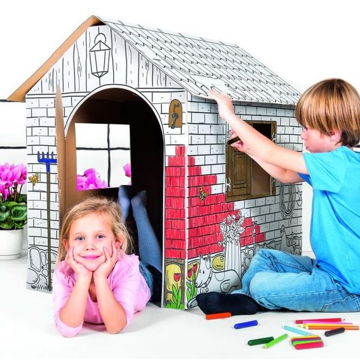 Tekturowy domek wiejski do pokolorowania i samodzielnego złożenia. Duży, z możliwością wejścia do środka.