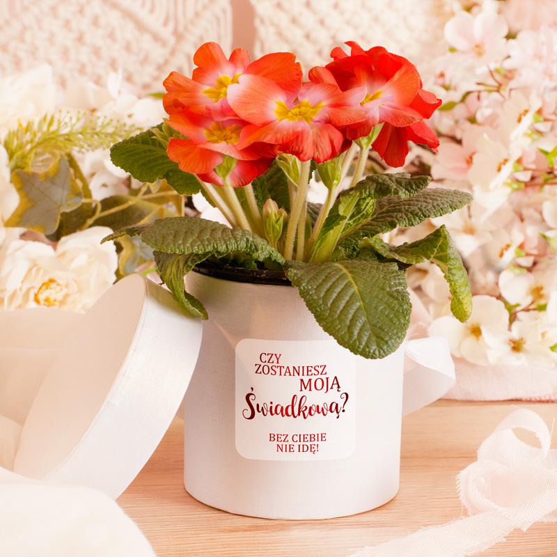 Pudełko ozdobne, flower box z etykietą, na której widnieje połyskujący napis w czerwonym kolorze Czy zostaniesz moją świadkową? Bez Ciebie nie idę!