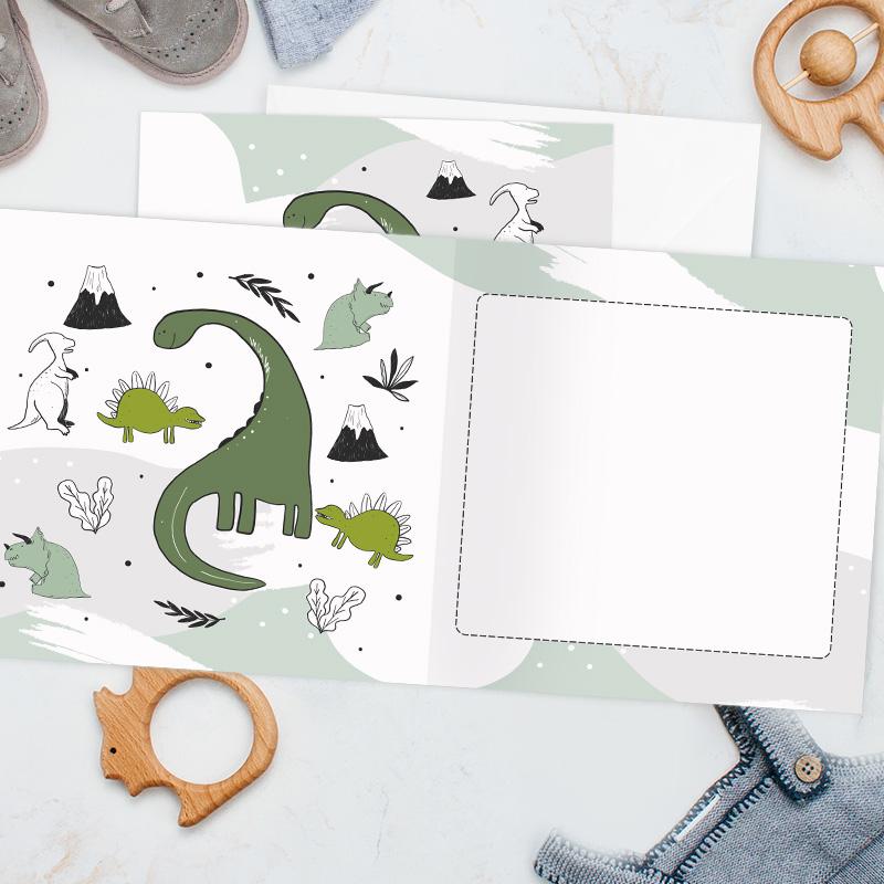 Zdjęcie w galerii - KARTKA dla Dziecka na Życzenia z Dinozaurami