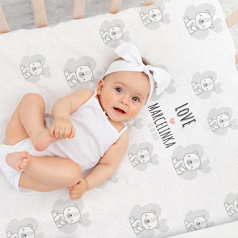 Personalizowany kocyk dla dziewczynki na narodziny z kolekcji Biały Miś z imieniem i datą narodzin i obszyciem w postaci białych, miękkich pomponików.