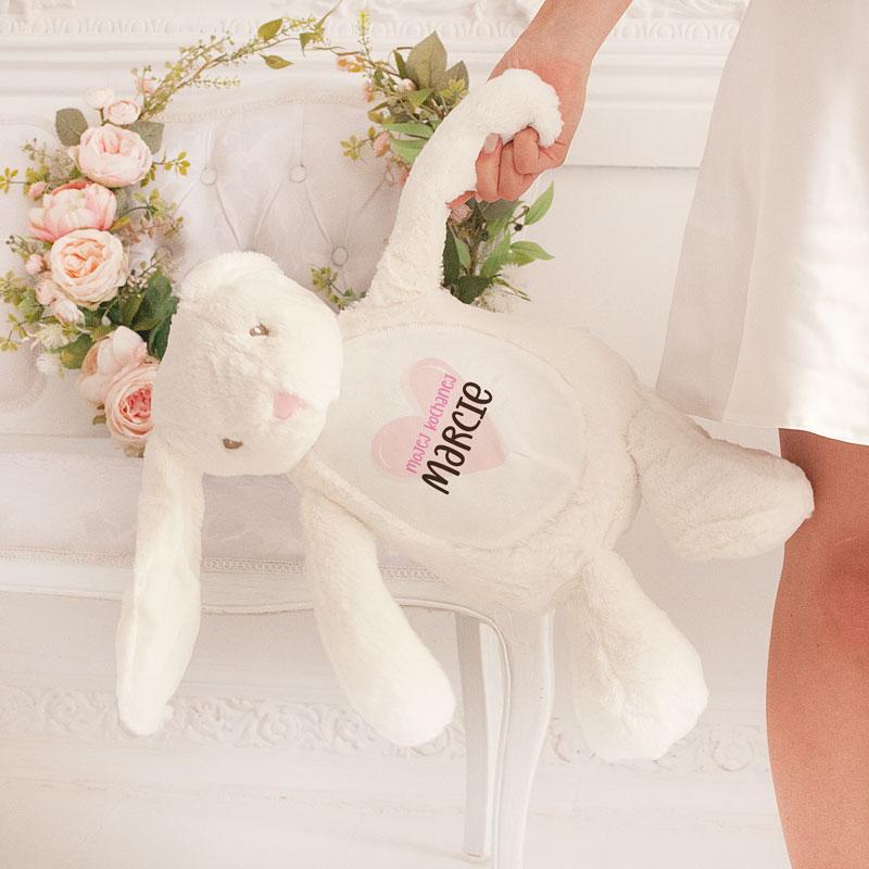 Zdjęcie w galerii - ZAJĄC Pluszowy Biały Exclusive Prezent Walentynkowy Dla Niej