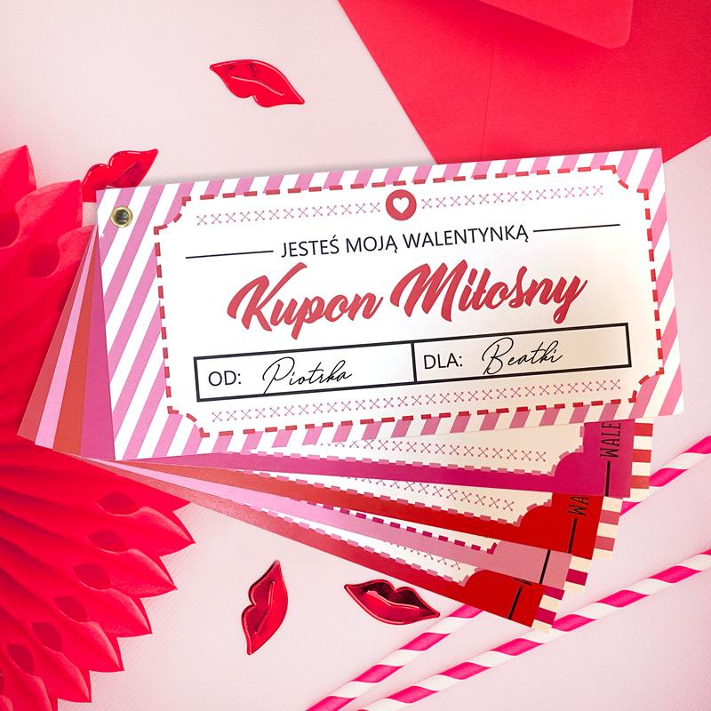 Kupon miłosny na prezent dla ukochanej osoby. Różowe bilety z pomysłami na randkę.