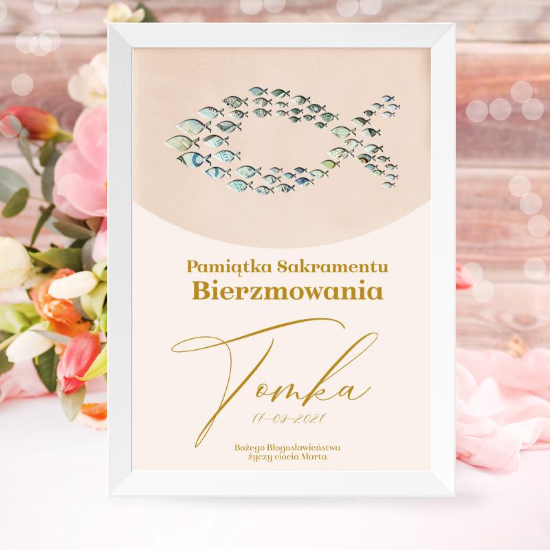 Personalizowany plakat na pieniądze w kształcie ryby ichtys oraz życzeniami bożego błogosławieństwa z imieniem oraz datą i podpisem.