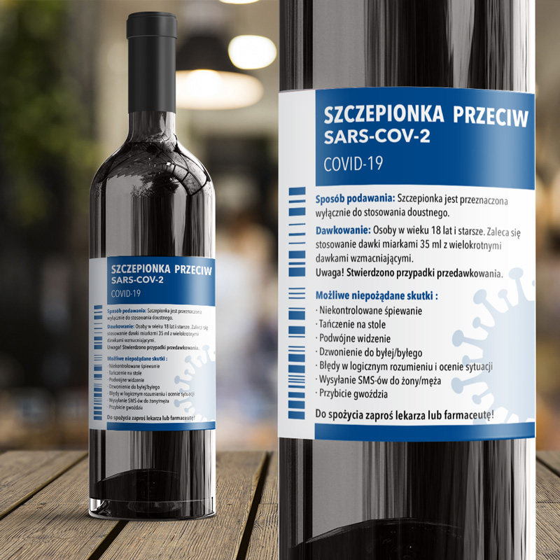 Etykieta samoprzylepna na wino z zabawnym napisem lek na covid i z instrukcją jak należy stosować.