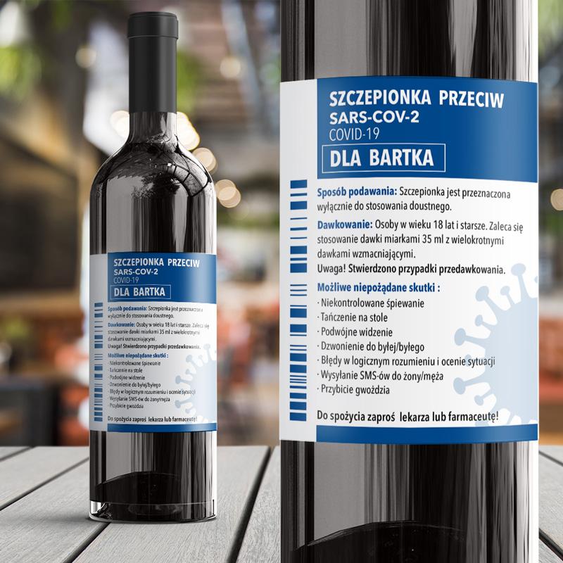 Zdjęcie w galerii - ETYKIETA na Wino Lek na COVID Pokrzepiający Prezent na Obecne Czasy
