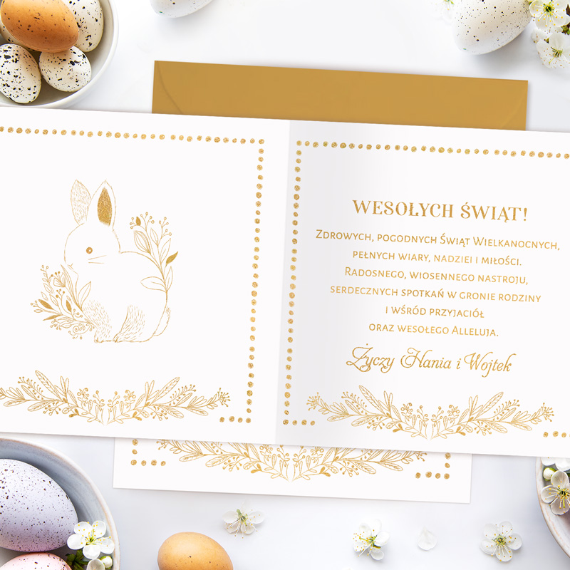 Zdjęcie w galerii - KARTKA na Wielkanoc Elegancka z Życzeniami Dla Bliskich