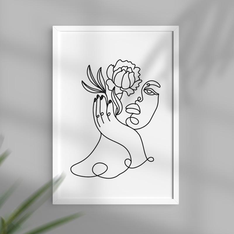 Plakat ozdobny z minimalistyczną grafiką. Efektowna dekoracja wnętrza do domu. Grafika przedstawia kobietę z kwiatem.