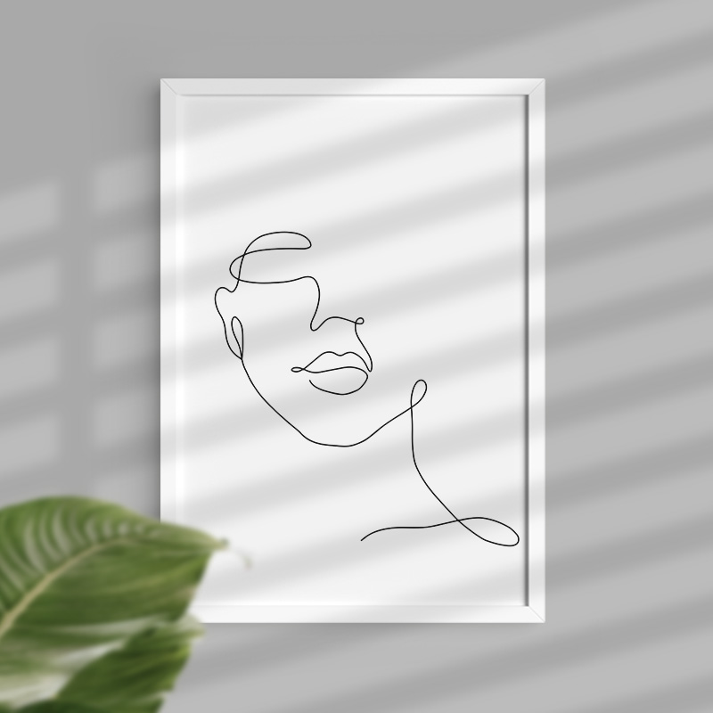 Ramka z plakatem kobiecy rys minimalistyczny plakat z wizerunkiem kobiecej twarzy.