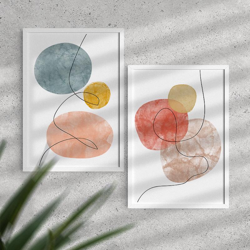Zestaw dwa plakaty z abstrakcyjną grafiką. Zestaw Dekoracji
