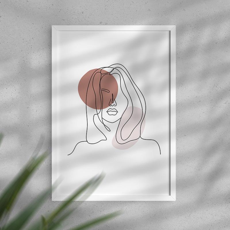 Dekoracja wnętrz plakat z wizerunkiem kobiety i beżowymi plamami. Minimal art.