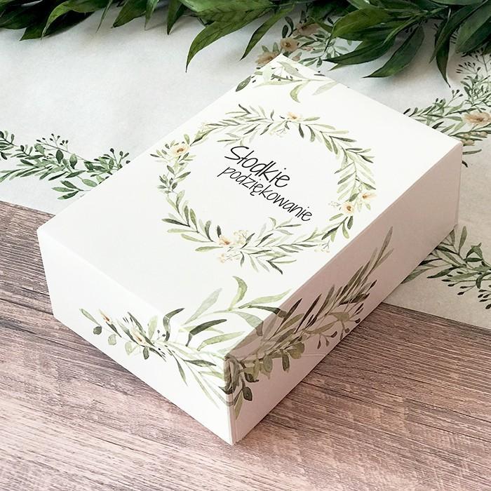 Papierowe pudełko na ciasto z grafiką wieńca z zielonymi listkami i napisem Słodkie podziękowanie