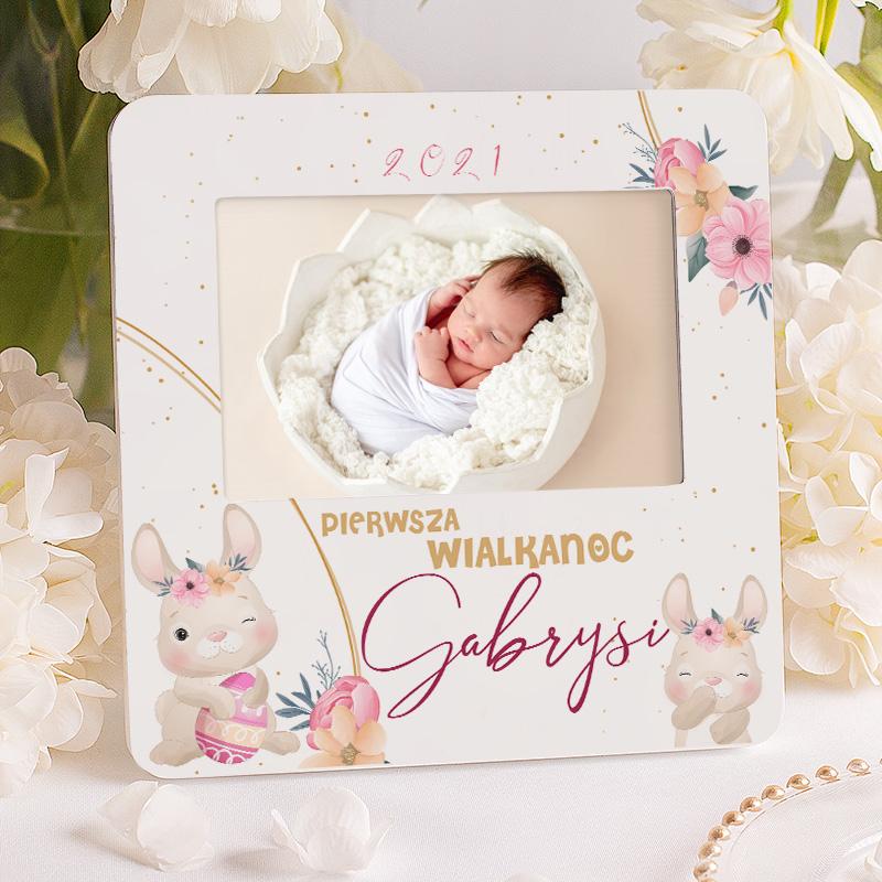 Zdjęcie slidera - RAMKA na Zdjęcie Pierwsza Wielkanoc Dziecka Rumiane Zajączki