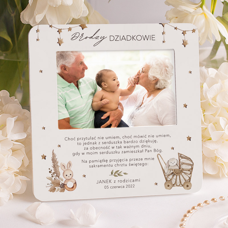 Ramka na zdjęcie pamiątkowe ze chrztu. Prezent dla dziadków od dziecka z życzeniami, podziękowaniem i podpisem.