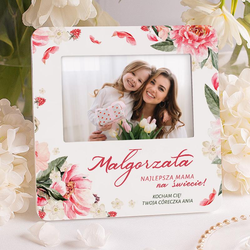 Ramka na zdjęcia personalizowana z dedykacją dla mamy oraz zdobieniem w kwiaty.