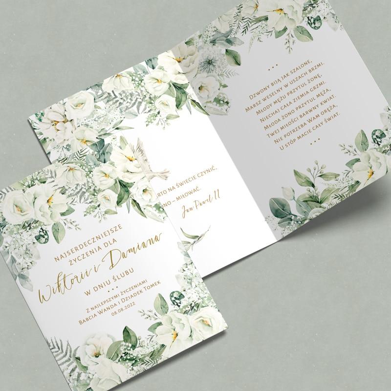 Zdjęcie w galerii - KARTKA z Gratulacjami i Życzeniami Dla Nowożeńców Białe Kwiaty