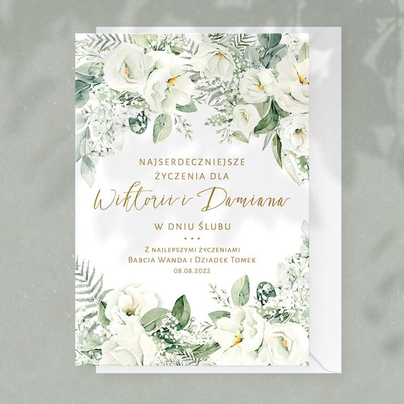 Personalizowana kartka na ślub dla nowożeńców z dedykacją na okładce.