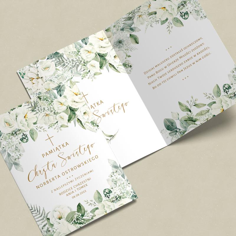 Zdjęcie w galerii - KARTKA z życzeniami na Pamiątkę Chrztu Białe Kwiaty