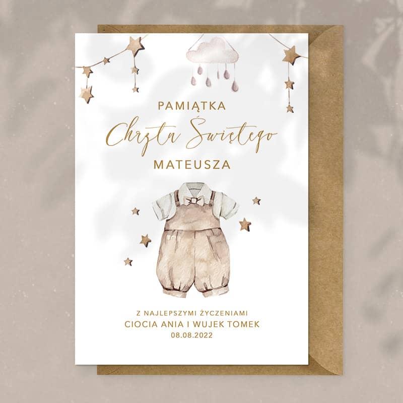 Kartka z personalizowaną okładką na pamiątkę chrztu chłopca.