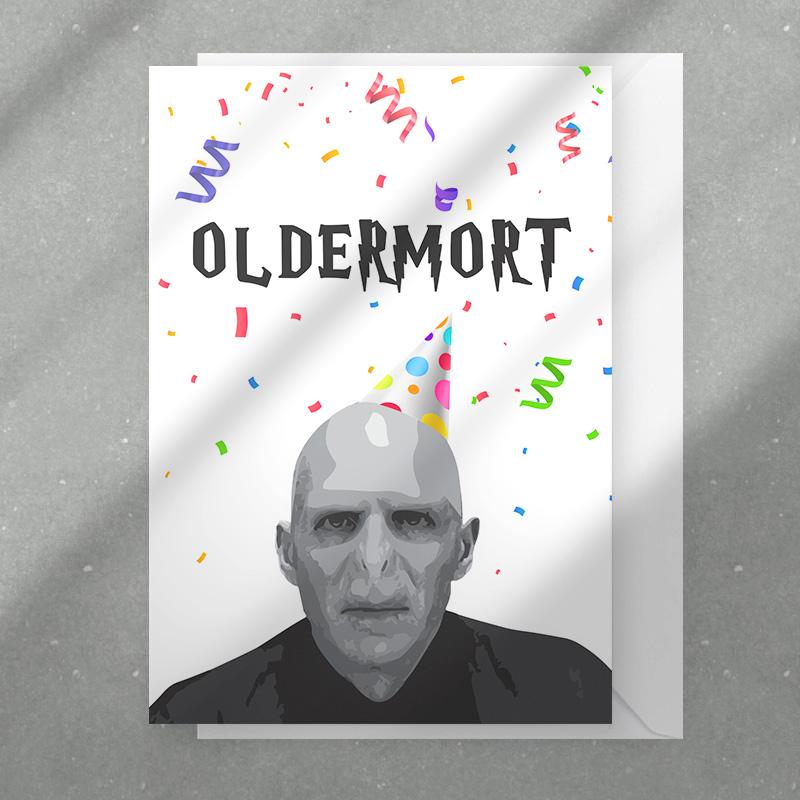 Kartka na urodziny dla wielbiciela Woldemorta. Z Oldermortem i życzeniami z personalizacją.