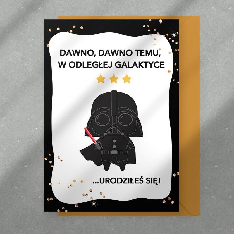 Kartka z motywem Star Wars z życzeniami dla fana Gwiezdnych Wojen z imieniem z życzeniami.