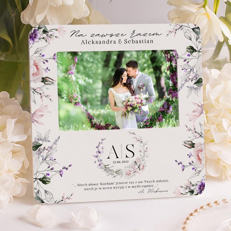 Personalizowana ramka na zdjęcie, prezent ślubny z personalizacją i cytatem z Pana Tadeusza.