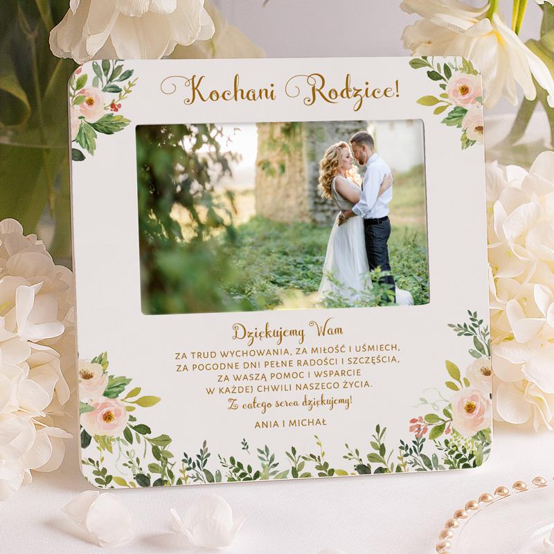 Ramka na zdjęcie personalizowana z życzeniami i podpisem dla rodziców. Podziękowanie ślubne.