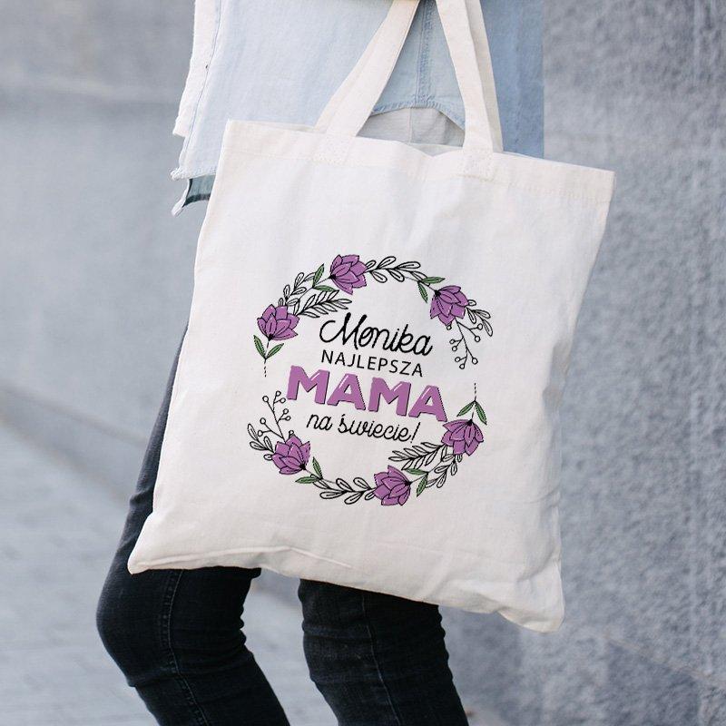 Zdjęcie w galerii - TORBA na Zakupy Z dedykacją Dla Mamy Fioletowe Kwiaty