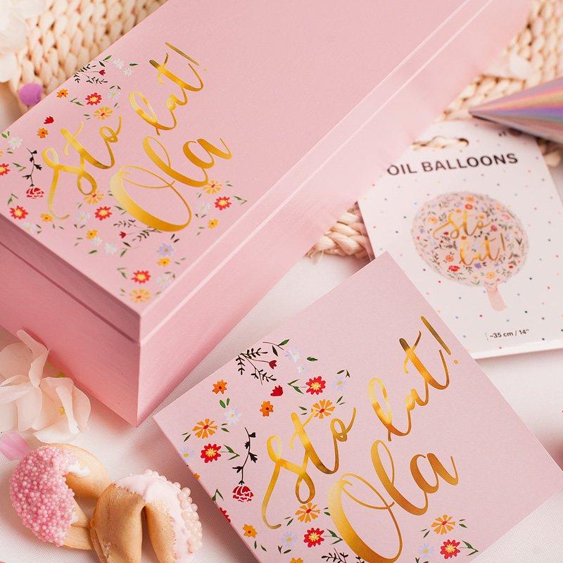 Zdjęcie w galerii - ZESTAW Urodzinowy Różowy STO LAT! Kartka Pudełko i Balon