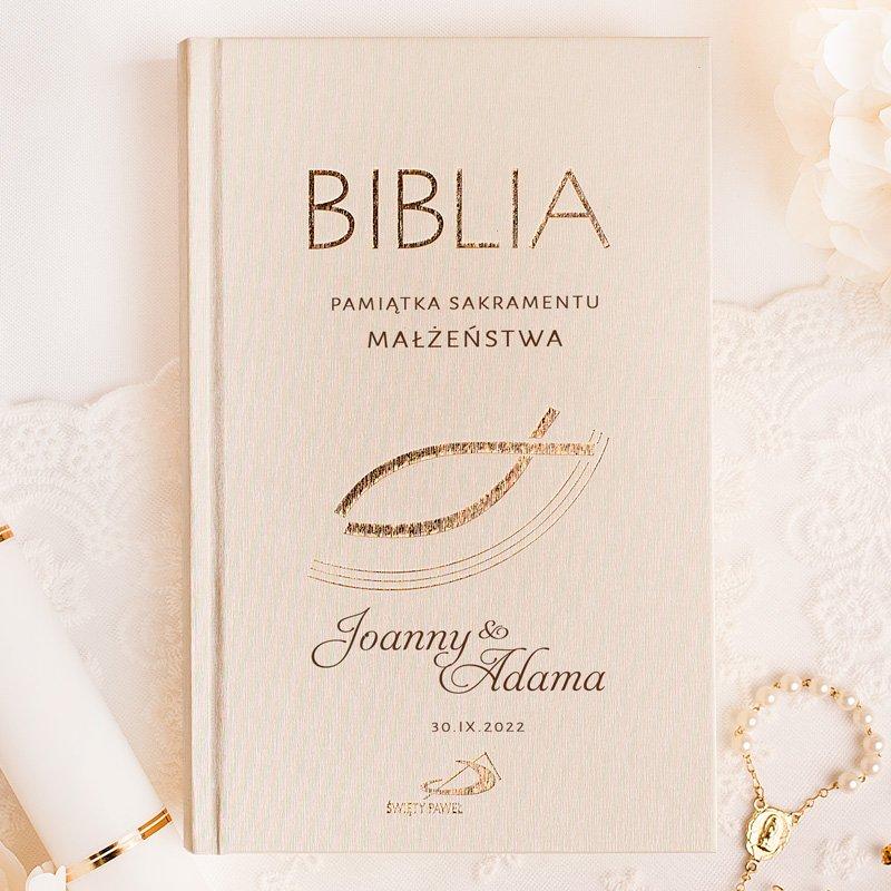 Personalizowane Pismo Święte na prezent ślubny z dedykacją dla małżeństwa.