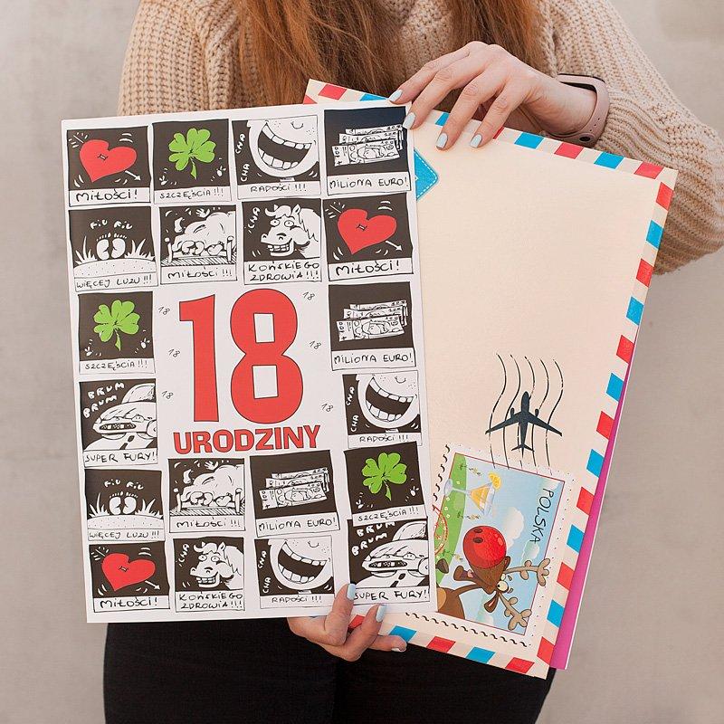 Kartka na 18 urodziny z zabawnymi życzeniami gigantyczna.