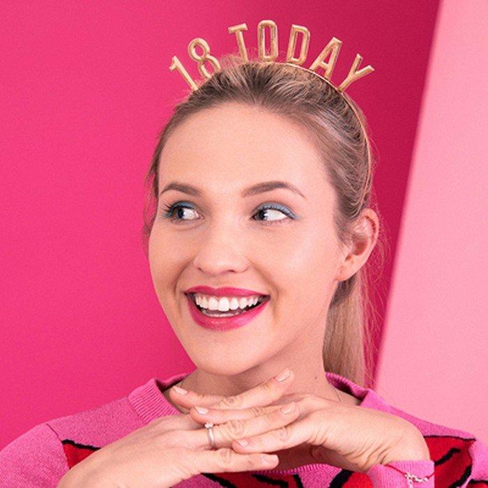 Opaska ozdobna na głowę dla dziewczyny z napisem 18 today.