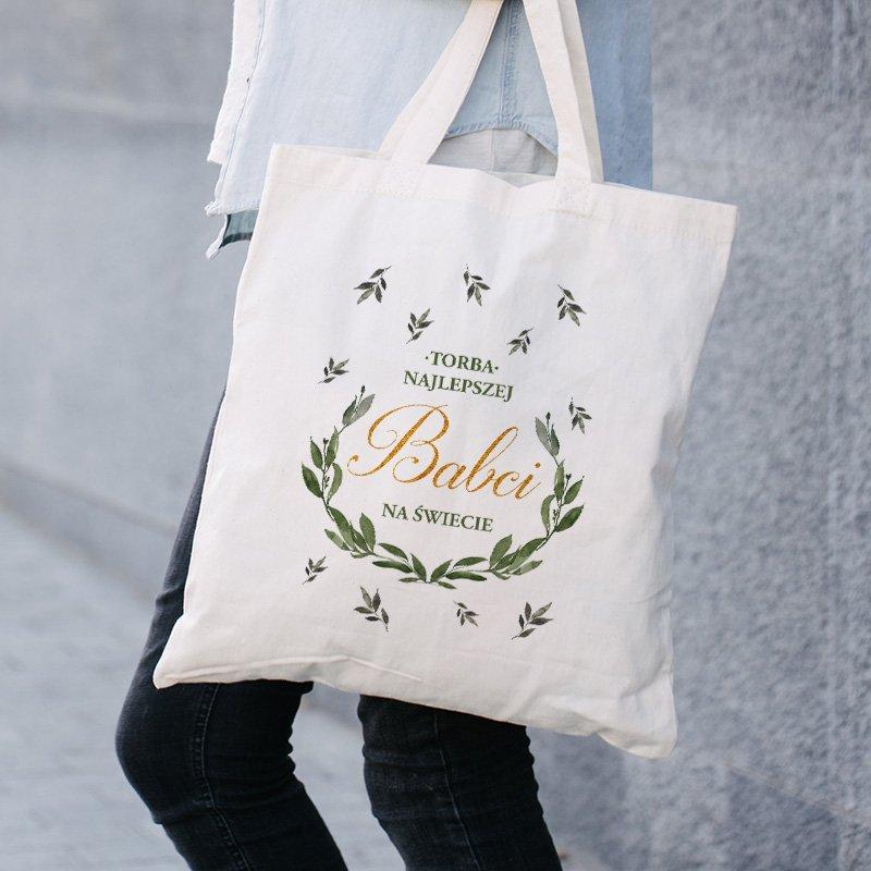Zdjęcie w galerii - TORBA na Zakupy materiałowa Zielony Wianek Prezent dla NIEJ