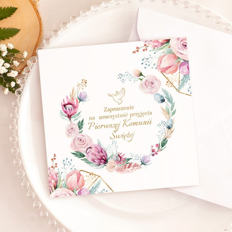 Uniwersalne zaproszenie na I komunie Św. Dream Flowers z kwiatową grafiką
