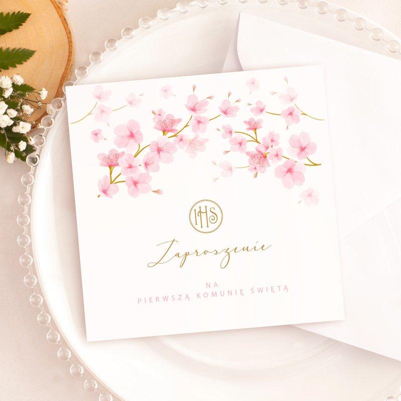 Uniwersalne zaproszenie na komunię dla dziewczynki Różowe Magnolie