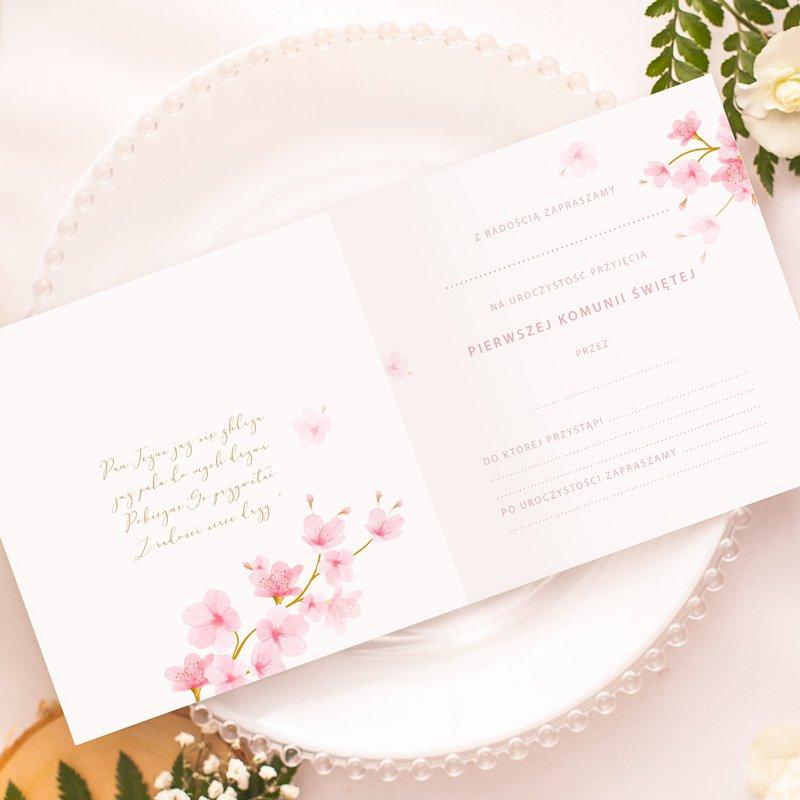 Zdjęcie w galerii - ZAPROSZENIA Na Komunię Uniwersalne Różowe Magnolie10szt