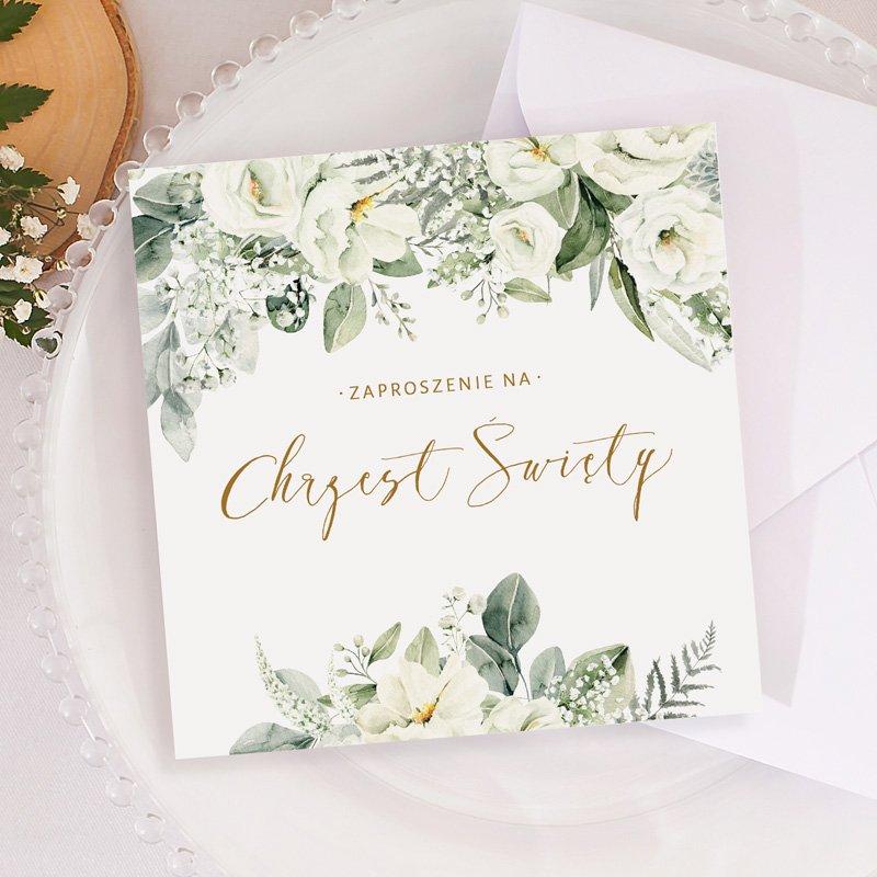 Eleganckie zaproszenie na Chrzest Święty z gotowym tekstem do samodzielnego wypisania. Piękny kwiatowy motyw w stylu boho.