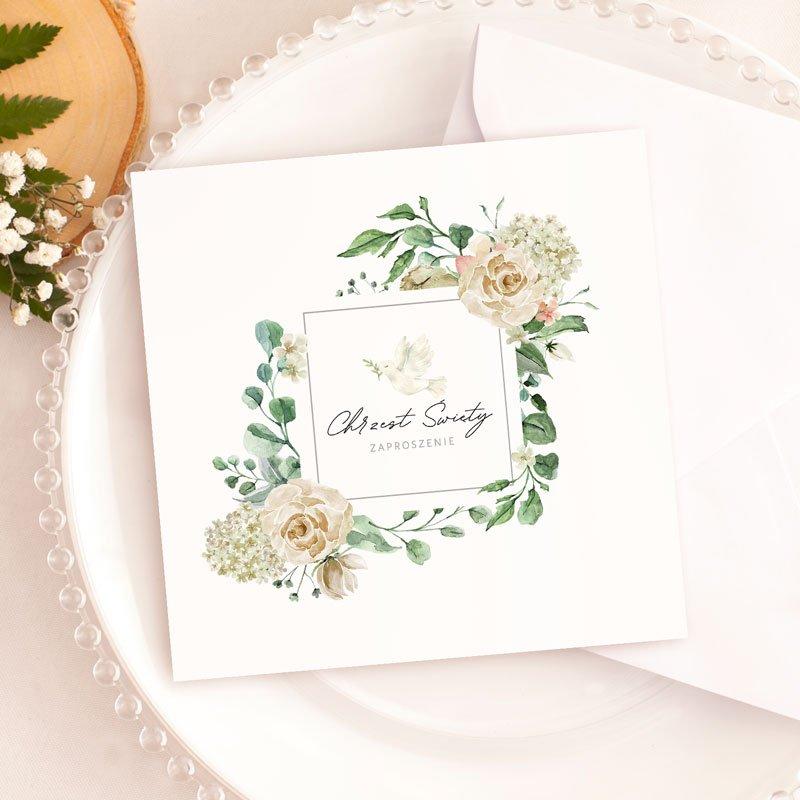 Zaproszenie uniwersalne do wypisania na chrzest święty. Na okładce znajdują się dekoracje w formie kwiatów i gołębia.