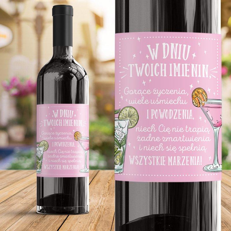 Etykieta na imieninowy alkohol w różowym kolorze i ozdobną grafiką. Idealny upominek dla kobiety na imieniny.