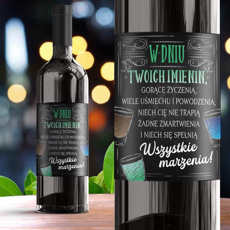 Etykieta na alkohol imieninowy w czarnym kolorze, z kolorowymi zdobieniami. Idealny dodatek do prezentu na imieniny dla mężczyzny.
