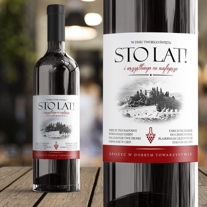 Etykieta na wino z życzeniami na urodziny lub imieniny oraz z toskańskim pejzażem