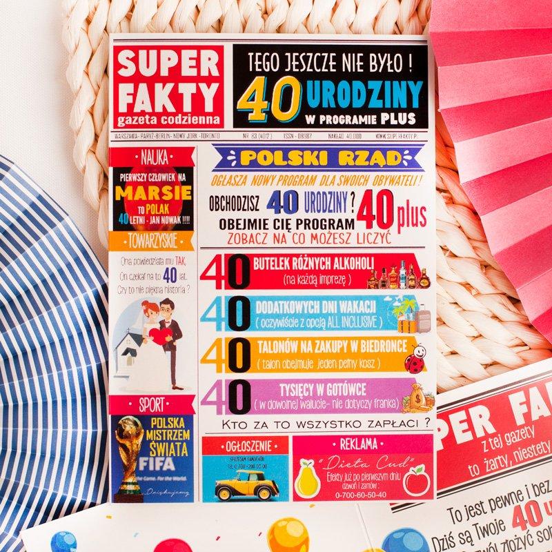 Kartka na 40 urodziny z kolorową okładką, tematyczną grafiką i kopertą.