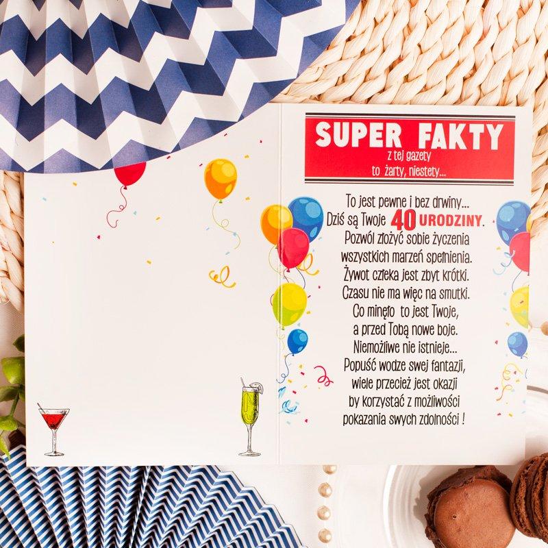 Zdjęcie w galerii - KARTKA urodzinowa z Zabawną Grafiką SUPER FAKTY na 40 urodziny