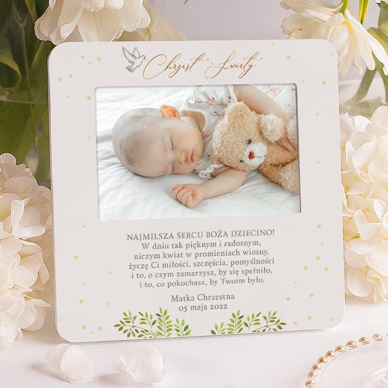 Personalizowana ramka na zdjęcie z gołąbkiem i wzruszającymi życzeniami, które po wielu latach będą pamiątką.