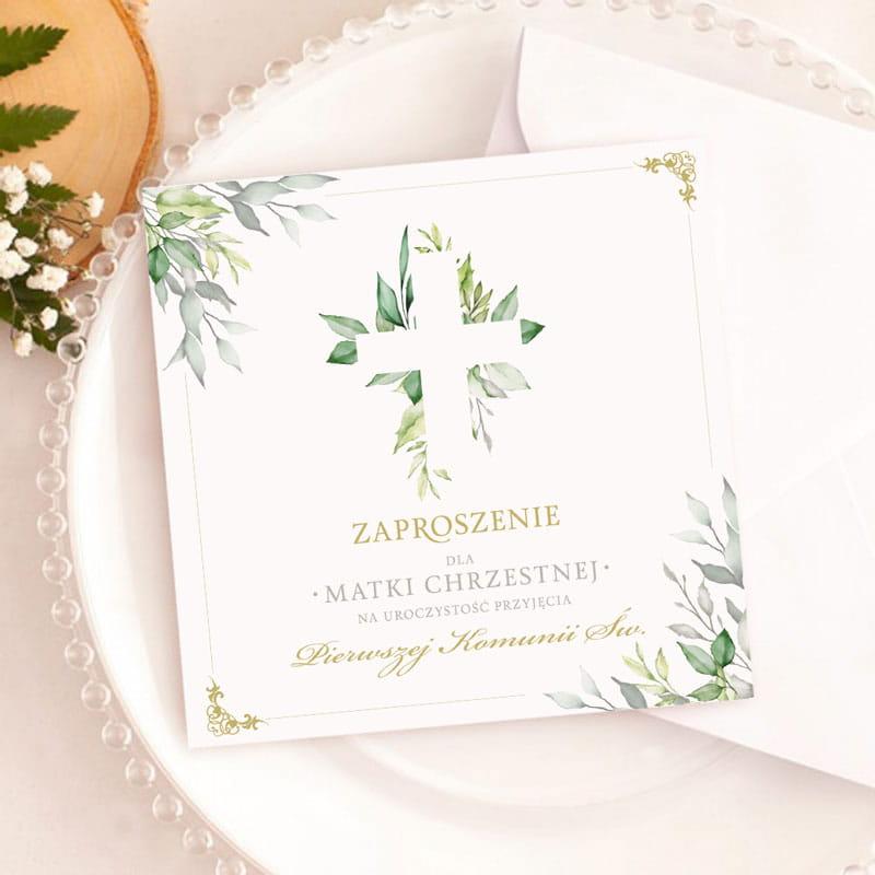 Zaproszenia na komunię dla rodziców chrzestnych zielone listki.