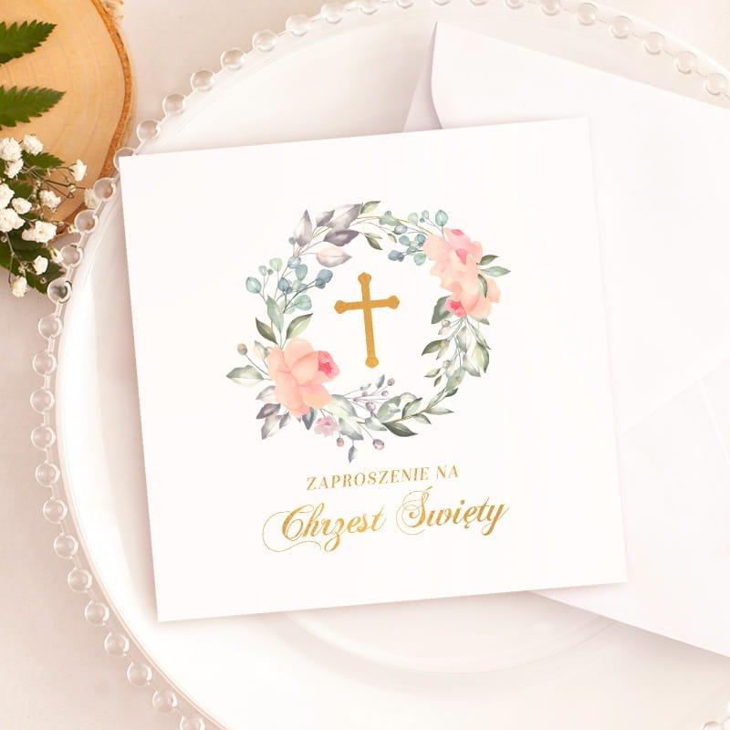 Zaproszenia na chrzest święty dziecka uniwersalne do wypisania z dekoracją krzyż w wianku.