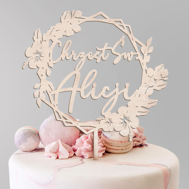 Topper personalizowany na Chrzest z motywem kwiatowego wianka. Idealny dodatek na tort z okazji Chrzcin dziecka.